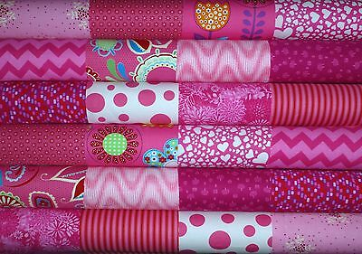 24 Bright Pink Cotton Fabric Quilting Patchwork 5 inch Charm squares #81a