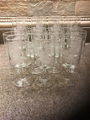 First Avon Lady 1886 Mrs Albee Etched Crystal Wine Water Stemware RARE Collect*