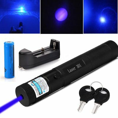Adjustable Blue Purple Laser Pointer 405nm 5mw Pen Beam+ 18650 Battery + Charger