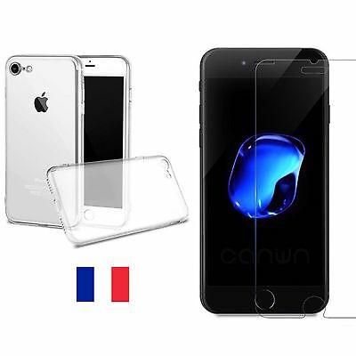 Housse COQUE TPU SILICONE + VERRE TREMPE film protection Pour Apple iPhone 7
