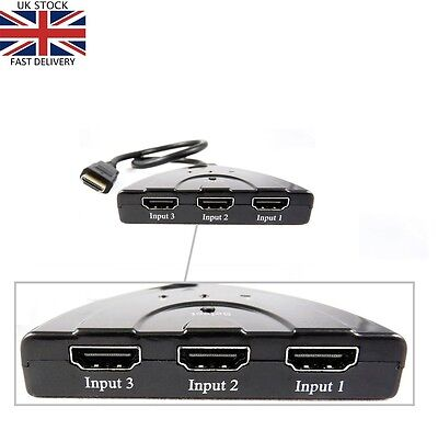 Hdmi 3 Port Switch Switcher Splitter Selector HUB Box Cable HDTV 1080P AUTO