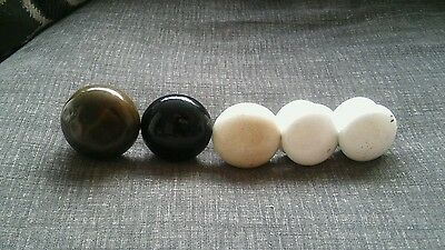 Four Vintage Victorian Porcelain Door Knobs Handles +1 Bronze