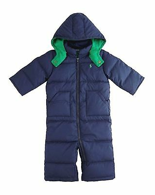 RALPH LAUREN baby boy * DOWN SNOW SUIT 6/9M Navy Bunting BNWT