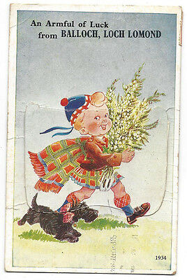BALLOCH Novelty Pull Out Postcard with Scenes, Boy in Kilt with Dog, Posted 1952