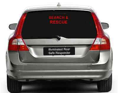 Illuminated Safe Responder LED Car Window Rear SEARCH & RESCUE Sign BRIGHT