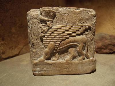 Mesopotamia art - Assyrian Winged bull relief sculpture amulet.
