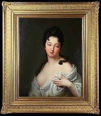 Large 19C, French School, Oil on Canvas 'PORTRAIT OF A SEMI-NUDE BEAUTY'