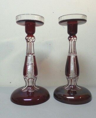 Pair Gorgeous Vintage/Antique Bohemian ?? Ruby Cut-To-Clear Glass Candle Holders