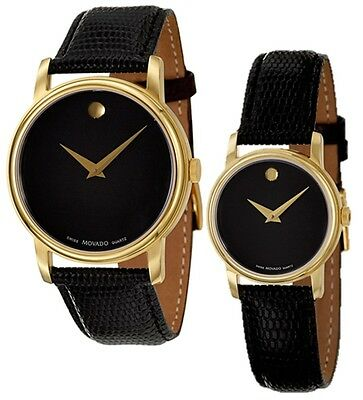 Movado Museum Black Dial Gold Black Leather Mens 2100005 / Womens 2100006 Watch