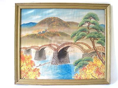 Vintage Japanese Watercolor Painting Silkscreen Bridge Over River Fall Colors