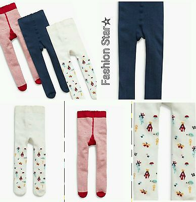 New* Bnwt Next Baby Girl Newborn 0-3-6 Month Navy/red/ecru Harvest Tights