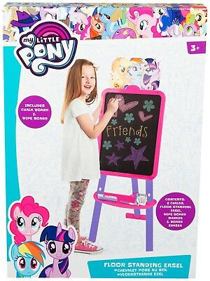 Kids Childrens My Little Pony Floor Standing Easel Two Sided White Chalk Board