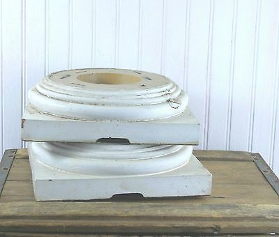 "Pair Old Column Bases Architectural Elements 5"" x 5"" Square Molded Chippy White"