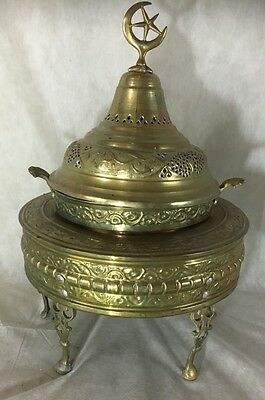 "Star & Crescent Islamic Huge Brass Incense Burner 24"" H 18"" W Matching Tray Rare"