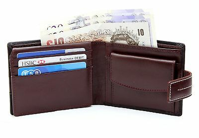 StarHide RFID Blocking Mens Real Leather Two Tone Black Brown Wallet Purse 1115