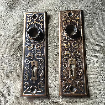 Antique Pair Of Stamped Art Deco/nouveau Pattern Backplates #1