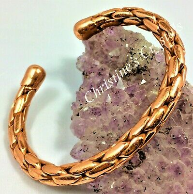 MAGNETIC Solid Copper ENTWINED COPPER Bracelet Healing Pain Relief Arthritis M90