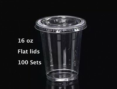 16 Oz Plastic Clear Drink PET Cups With Flat Lids, 100 Sets