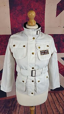 #939A Barbour Girls Kids Union Jack Woven Badge White Belted Jacket M Age 8/9