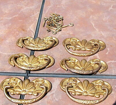 Set of 6 Solid  Heavy  Brass Drawer Pulls with Backplates