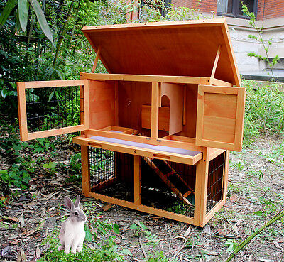 """36"""" Wooden Rabbit Hutch Cage Chicken Coop Hen House Pet Animal Poultry Cage Run"""