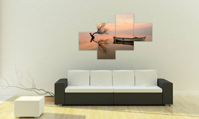 BOAT AT LAKE BILDER SET 4 TEILE ROMANTIC M41054 Design DRUCK AUF LEINWAND