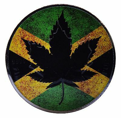 Canada Silver Maple Leaf Jamaican Flag Coin  1 Oz Colored And Ruthenium Plated