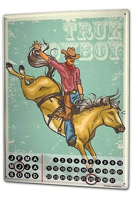 Dauer Wand Kalender Fun Rodeo Metall Magnet
