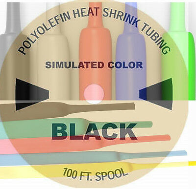 """100FT-30m from 1mm-180mm- 3⁄64""""to 73⁄32"""" Heat Shrink Tube Cable-Schrumpfschlauch"""