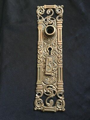 ANTIQUE VICTORIAN FANCY BRASS  Entryway BACK  PLATE Decorated WITH DOLPHINS