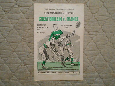 Great Britain V France International Rugby League Match Programme 1959