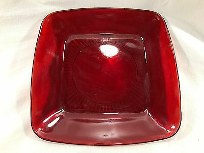 """Vintage Ruby Depression Glass Red 8"""" Plate Coffee Saucer One"""