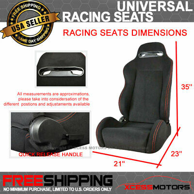 Fits BMW Rco Style Cloth Black Racing Seats & Red Stitch (Pair)