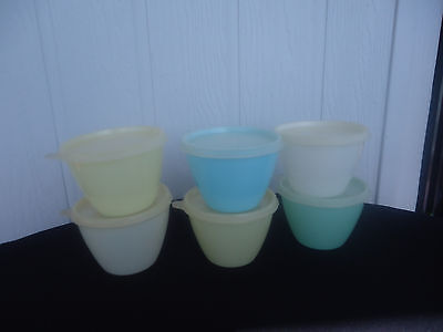 6 vintage retro tupperware pastel colours yellow green blue bowl containers