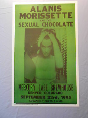 """ALANIS MORISSETTE SEXUAL CHOCOLATE MERCURY BREWHOUSE 1995 CONCERT POSTER 14"""" x22"""