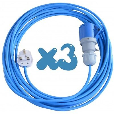 3x 10m Extension Leads For Bouncy Castle Blowers 13 AMP to 16 AMP 16A Cable