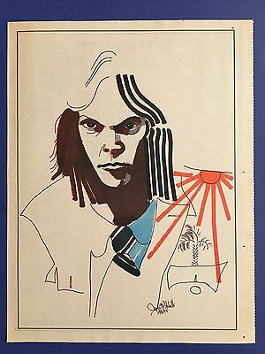 NEIL YOUNG Original 1975 Art Impression 11X14 Inches