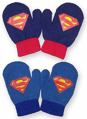 Kids Boys Superman Mittens Gloves Hand Warmers One Size 1-5 Years 800-413