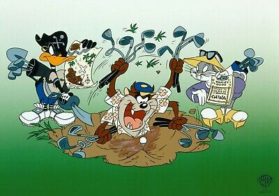 Bugs Bunny Taz Divot Warner Brothers Sericels LE 2500 10x16 NEW Taz Daffy Duck