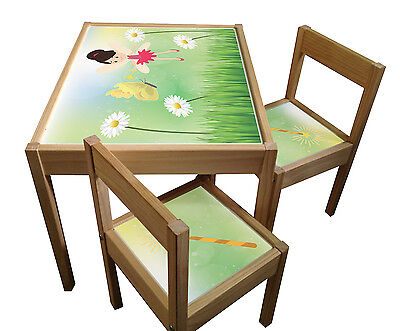 Set of Sticker Designs for IKEA Latt Kids Table and Chairs Protects the Surface