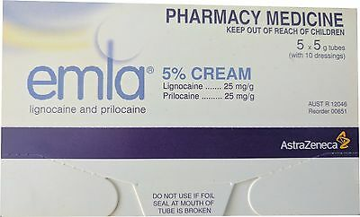 ~ Emla Anaesthesia Cream 5 X 5G + 10 Dressings Tattoo Cream Burns Numbing