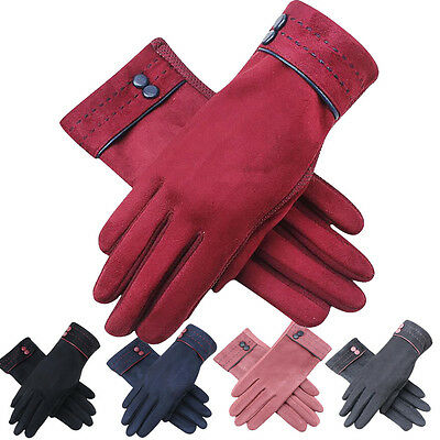 US Women's Warm Winter Gloves Outdoor Driving Screen Touch Suede Gloves Mittens