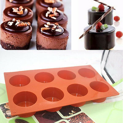 8 cavity Round Cylinder Circle Silicone Soap Mold Muffin Cupcake Bakeware Pans