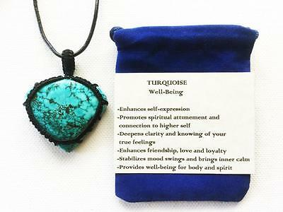 Turquoise Pendant Crystal Gemstone Necklace, Adjustable Cord, Velvet Pouch