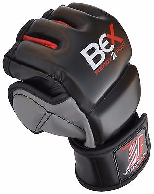 Bex MMA Leather Gloves UFC Grappling Gel Tech Fight Boxing Punch Bag Training M