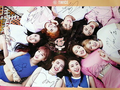 TWICE autographed 2016 mini 3rd album poster coaster : LANE 1 CD B version