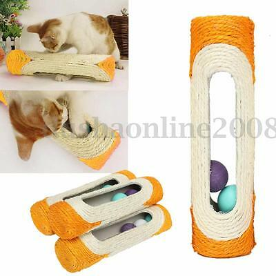 Balle Sisal Rolling Scratching Post Jouet Pr Animal Chat Cat portable 28x7.5cm