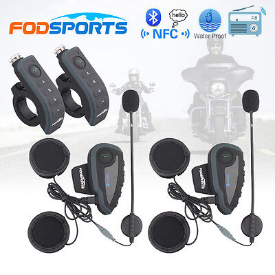 2x BT V8 1200M Motorcycle Bluetooth Helmet Intercom Headset 5 Riders Interphone