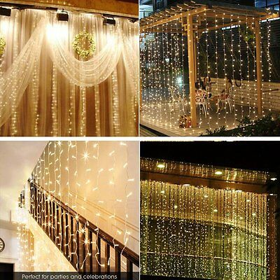 6*3M/3*3M Waterfall Curtain Lights String Light Wedding Party Xmas Decor