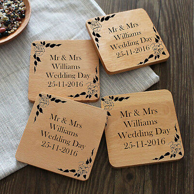 Pair Set of 2 Personalised Mr & Mrs Wedding Day Drink Coasters Gift Set Present